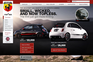 Fiat 500 Abarth Website home page screenshot