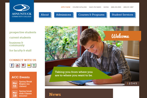 Asnuntuck Community College Website home page screenshot