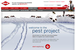 Orkin: The Pest Project Website home page screenshot