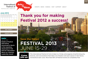 International Festival of Arts & Ideas Website home page screenshot