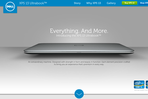 Dell XPS 13 Ultrabook Microsite home page screenshot